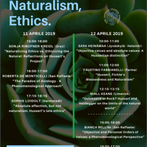 Phenomenology, Naturalism, Ethics. l'11 e 12 a Parma